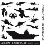 Aircraft carrier high detailed silhouettes set. Vector