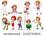 set of girl activity... | Shutterstock .eps vector #1210714810