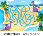 a dinosaur board game template... | Shutterstock .eps vector #1210714870