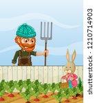 farmer angry at rabbit harvest... | Shutterstock .eps vector #1210714903