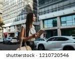young business lady catches a... | Shutterstock . vector #1210720546
