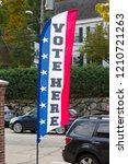 voting here banner in usa   Shutterstock . vector #1210721263