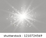 white glowing light explodes on ... | Shutterstock .eps vector #1210724569