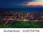 Small photo of Cityscapes of Honolulu city and Waikiki beach in night time at Tantalus lookout , Honolulu, Oahu island, Hawaii