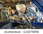 father and son working together ...   Shutterstock . vector #121075858