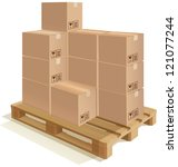 cardboard boxes set on a wooden ... | Shutterstock .eps vector #121077244
