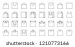 shopping bag thin line icon set.... | Shutterstock .eps vector #1210773166