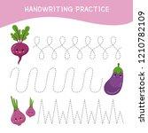 handwriting practice sheet.... | Shutterstock .eps vector #1210782109