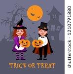happy halloween. children... | Shutterstock .eps vector #1210791880
