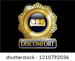 gold badge with couch icon and ... | Shutterstock .eps vector #1210792036