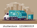 garbage collection in the city... | Shutterstock .eps vector #1210803319