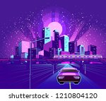 night neon city  car rides... | Shutterstock .eps vector #1210804120