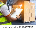 logistics and warehouse. stack... | Shutterstock . vector #1210807753