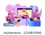 business team with laptops look ... | Shutterstock .eps vector #1210813960