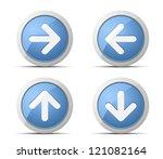 Blue Arrows button - stock vector
