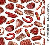 butcher shop meat food seamless ... | Shutterstock .eps vector #1210830409