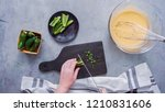 Stock photo step by step flat lay slicing jalapeno peppers for spicy jalapeno cornbread 1210831606