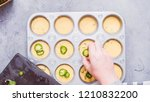 Stock photo step by step flat lay filling metal muffin pan with cornbread batter to bake spicy jalapeno 1210832200