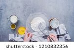 Stock photo step by step flat lay mixing ingredients together in glass mixing bowl for spicy jalapeno 1210832356