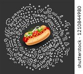 vector hot dog  isolated icon... | Shutterstock .eps vector #1210844980