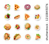 set of fast food icons. junk... | Shutterstock .eps vector #1210845076