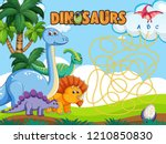 dino board game template... | Shutterstock .eps vector #1210850830
