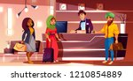 registration of newly arrived... | Shutterstock .eps vector #1210854889