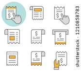receipt flat line icons. set of ... | Shutterstock .eps vector #1210858783