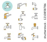 faucet flat line icons. set of... | Shutterstock .eps vector #1210858786