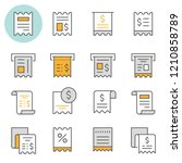 receipt flat line icons. set of ... | Shutterstock .eps vector #1210858789