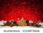 shining christmas tree   golden ... | Shutterstock . vector #1210873606