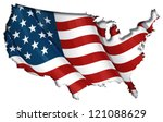 Us Flag Map Inner Shadow