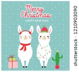 cute llama and gifts in...   Shutterstock .eps vector #1210903090