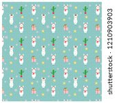 pattern of llama and gift with...   Shutterstock .eps vector #1210903903