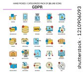 gdpr flat line icon set  ... | Shutterstock .eps vector #1210906093