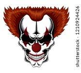 evil clown skull with red hair.   Shutterstock .eps vector #1210924426
