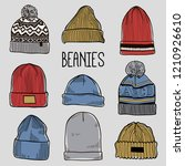 set of fashion men's caps and... | Shutterstock .eps vector #1210926610