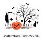 halloween black orange logo... | Shutterstock .eps vector #1210929733