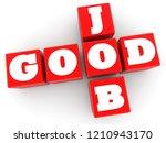 good job concept on red cubes...   Shutterstock . vector #1210943170