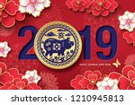 chinese new year 2019  year of... | Shutterstock .eps vector #1210945813