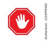 stop red octagonal stop hand... | Shutterstock .eps vector #1210959460