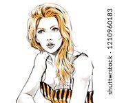 beautiful young woman in top...   Shutterstock . vector #1210960183