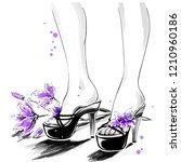 elegant slender female legs in...   Shutterstock . vector #1210960186