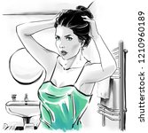 fashion illustration with black ...   Shutterstock . vector #1210960189