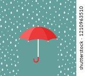 red open umbrella with rain... | Shutterstock .eps vector #1210963510