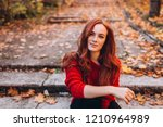 portrait of a young ginger... | Shutterstock . vector #1210964989