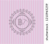 bitcoin mining icon inside pink ... | Shutterstock .eps vector #1210965259