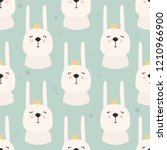 rabbits with crowns  hand drawn ... | Shutterstock .eps vector #1210966900