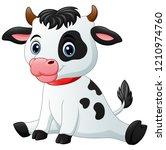 cute baby cow cartoon sitting | Shutterstock . vector #1210974760