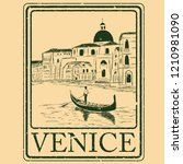 venice  italy isolated postage... | Shutterstock .eps vector #1210981090